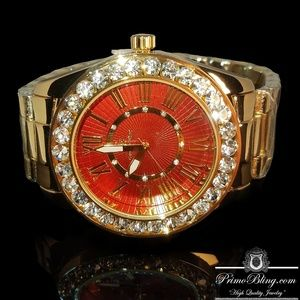 Iced Out Red Face Large Stone Hip Hop Bling Watch